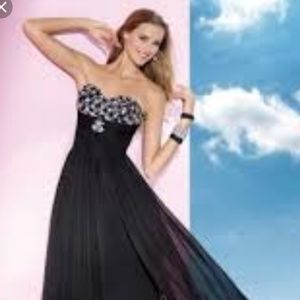 Alyce black chiffon rhinestone prom dress gown 14